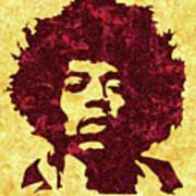 Jimi Hendrix Print, Jimi Hendrix Poster, Rock Music Lovers Gift Art Print