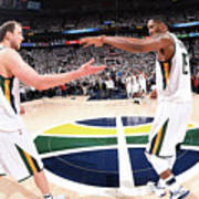 Joe Ingles and Derrick Favors Art Print