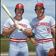 Johnny Bench and Pete Rose Art Print