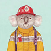 Koala Firefighter Art Print