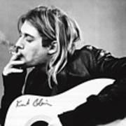 KURT COBAIN - SMOKING POSTER - 24x36 MUSIC GUITAR NIRVANA  Art Print