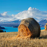 Lake Tekapo with hay bales and mountain background Art Print