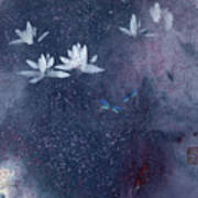 Lotus with Dragonflies Art Print