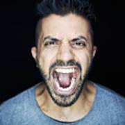 Man Shouting To Camera Art Print