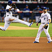 Mike Moustakas and Alcides Escobar Art Print