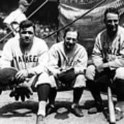 Miller Huggins, Lou Gehrig, and Babe Ruth Art Print
