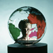 Model Behing Transparent Globe Art Print