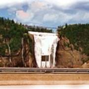 Montmorency Falls At Montmorency River Which Is A Tributary To St Lawrence River In Quebec Art Print