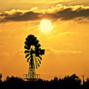 Old Windmill At Sunset Art Print
