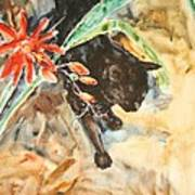 Panther With Passion Flower Art Print