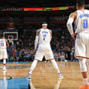 Paul George, Carmelo Anthony, and Russell Westbrook Art Print
