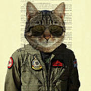 Pilot cat portrait on antique book page Art Print