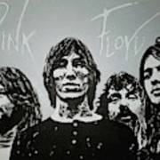 Pink Floyd Black And White Painting By George Harville
