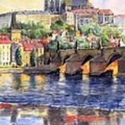 Prague Castle with the Vltava River 1 Art Print