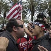 Protestors Rally Outside Trump Campaign Event In Anaheim Art Print