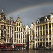 Rainbow over Grand Place Art Print