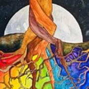 Rainbow Soil with Moon Art Print