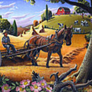Raking Hay Field Rustic Country Farm Folk Art Landscape Art Print