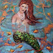 Red Headed Mermaid Ophelia Painting by Linda Queally Art Print