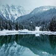 Reflection Of Mountains In Lake During Winter Art Print