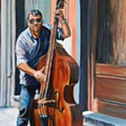 Riviera Rhythms- Cello Street Musician Art Print