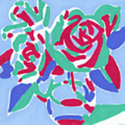 Rose bouquet in a vase oil painting on canvas, pop art fluorescent colorful flower still life Art Print