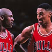 Scottie Pippen and Michael Jordan Art Print
