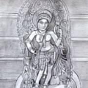 Sculpture pencil  drawing of Madanika Chennakesava temple Karnataka Art Print