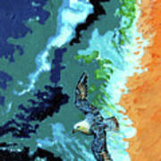 Sea Gull Over Ocean Art Print