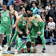 Shane Larkin, Jaylen Brown, and Jayson Tatum Art Print