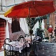 Red Umbrella Outdoor Cafe Art Print