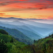 Smoky Mountains Sunrise - Great Smoky Mountains National Park Art Print