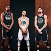 Stephen Curry, Kevin Durant, and Klay Thompson Art Print