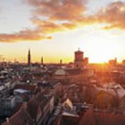 Sunset above Copenhagen Art Print