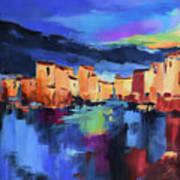Sunset Over the Village Art Print