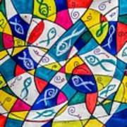 Twenty Plus Fish Triangulated Or Not Art Print