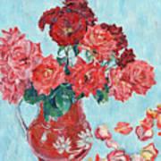 Vase with pink roses still life impressionism impasto painting Art Print