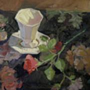 White Porcelain and Roses Art Print