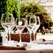 Wineglasses and table setting Art Print