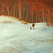 Winter Walk with Dog Art Print
