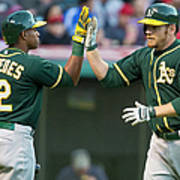 Yoenis Cespedes And Brandon Moss Art Print