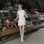 Young Woman Shopping Vegetables In Mall Art Print