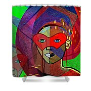 394 - Challenging Woman With Mask Shower Curtain
