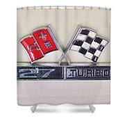 427 Turbo Jet Corvette Emblem Shower Curtain
