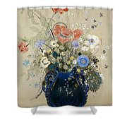 A Vase Of Blue Flowers Shower Curtain by Odilon Redon