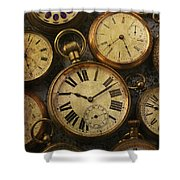 Aged Pocket Watches Shower Curtain
