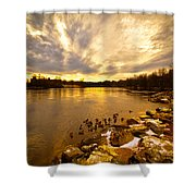 Androscoggin River Between Lewiston And Auburn Shower Curtain