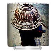 Antique Fire Hydrant - Blue Tones Shower Curtain