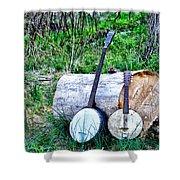 Banjos At The Woodpile Shower Curtain