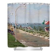 Beach Border Walk In Norfolk Va Shower Curtain